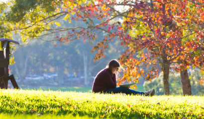 student on lawn