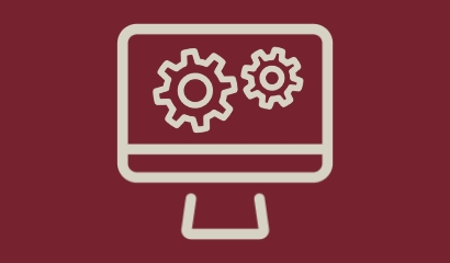 Image of computer with cogs
